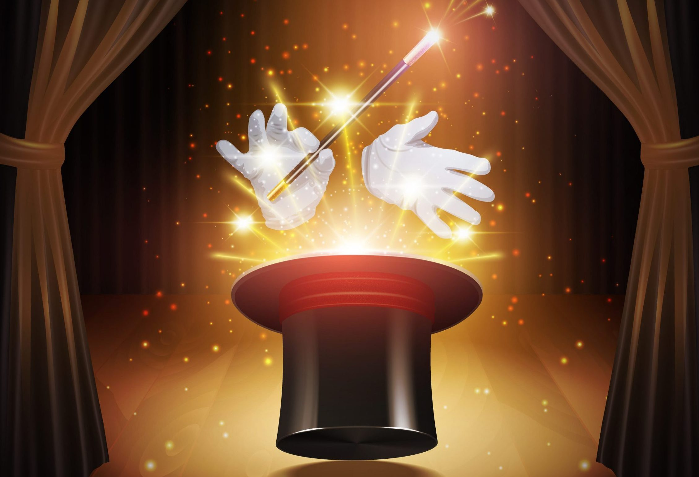Magic trick poster with realistic magician cylinder gloves and stick with curtains on background vector illustration