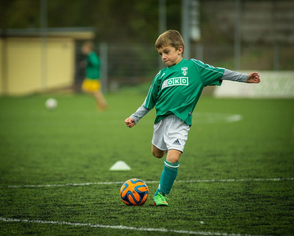 child, soccer, playing