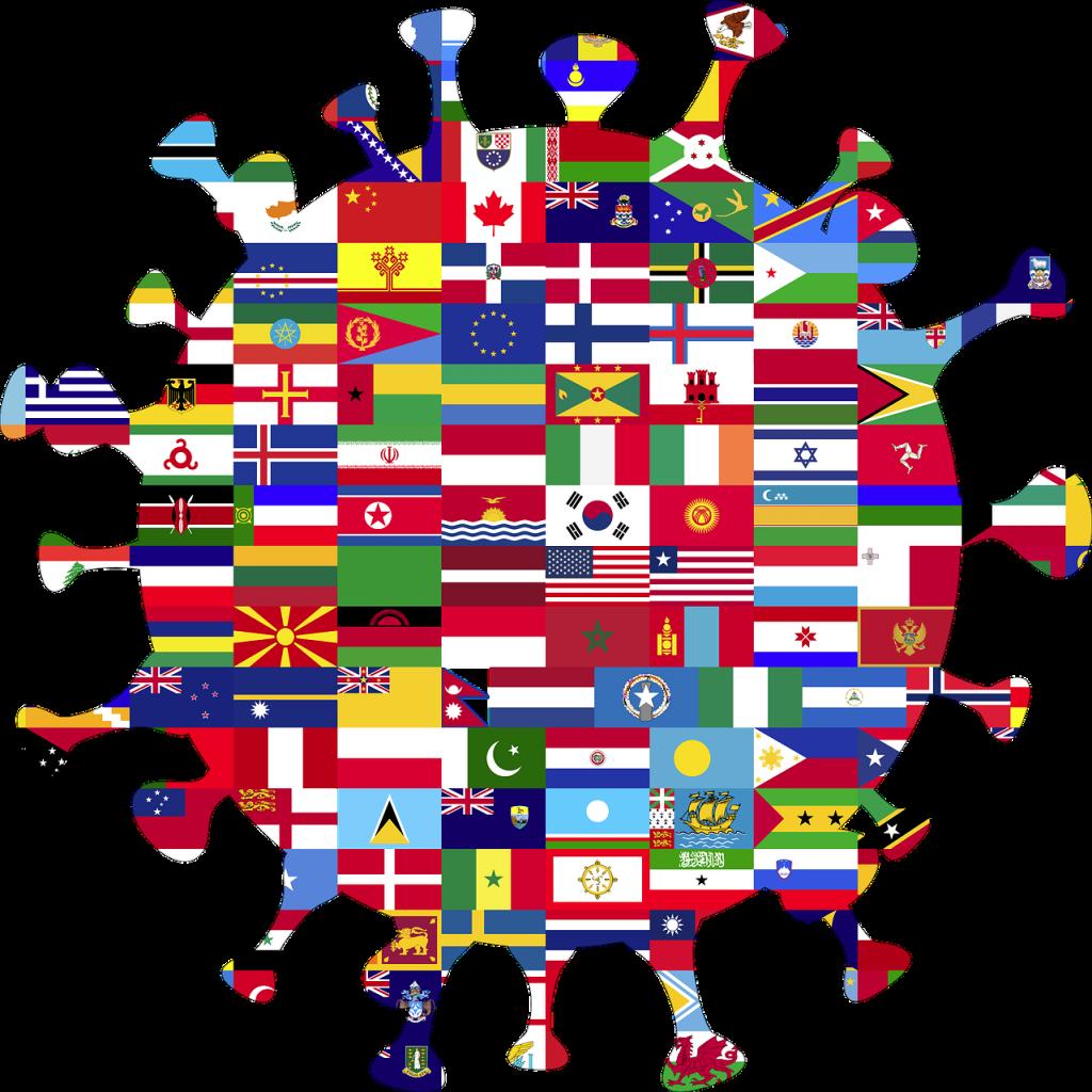 coronavirus, globe, flags